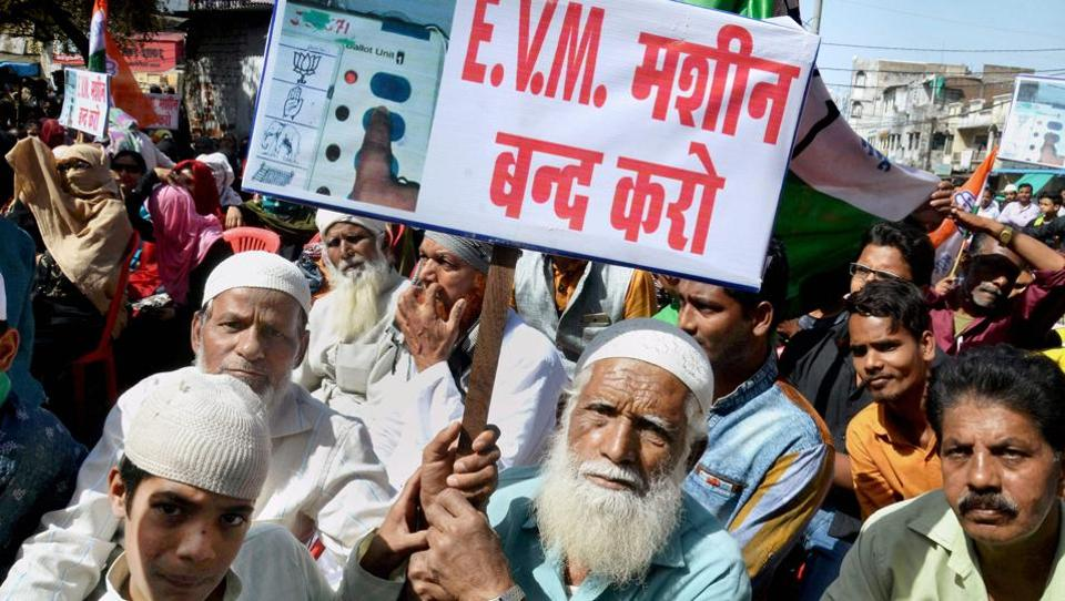 Congress party activists during a demonstration against the use of electronic voting machines (EVM) in the elections, in Bhopal.