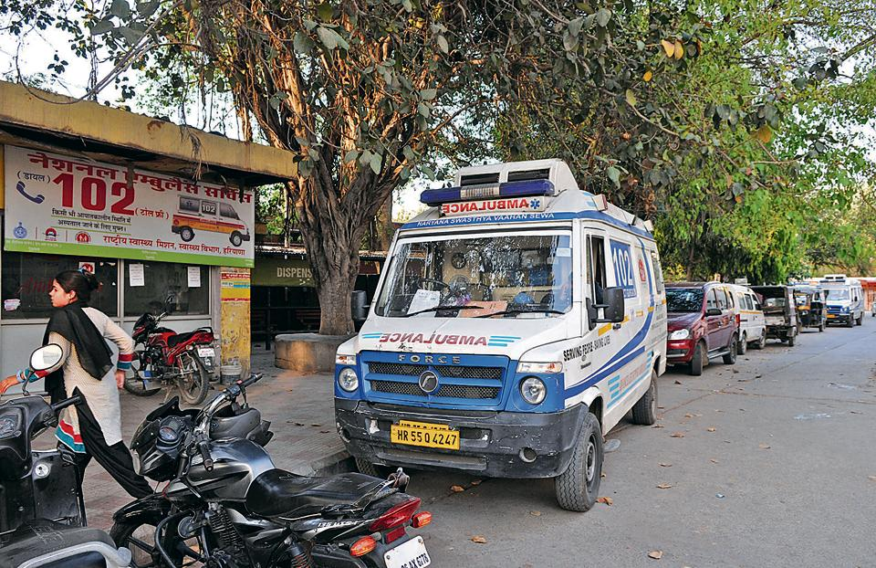 The ambulance belonging to the Gurgaon civil hospital that ran out of fuel.