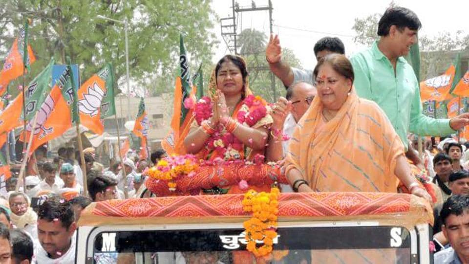 CM Vasundhara Raje along with BJP candidate Shobha Rani Kushwaha campaigning in Dholpur on Friday.