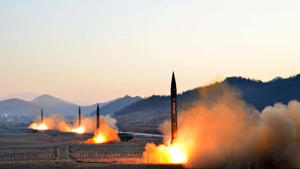 Launch of four ballistic missiles by the Korean People's Army during a military drill in North Korea in March.