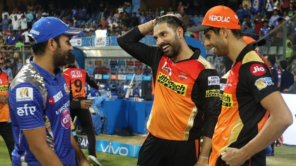 A reunion of sorts for Rohit Sharma, Ashish Nehra and Yuvraj Singh as they interact after the match. (BCCI)