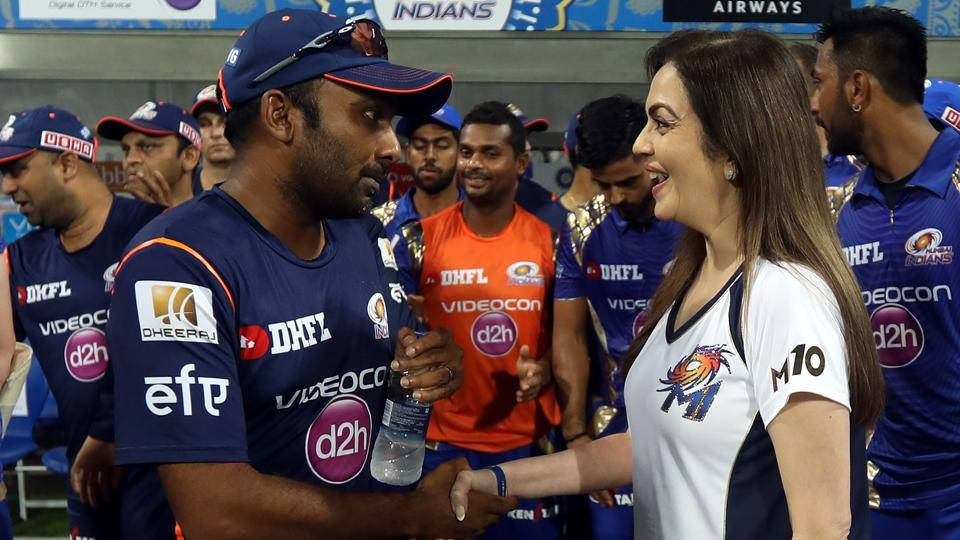 Mumbai Indians coach Mahela Jayawardene and team owner Nita Ambani have a chat after the match. (BCCI)