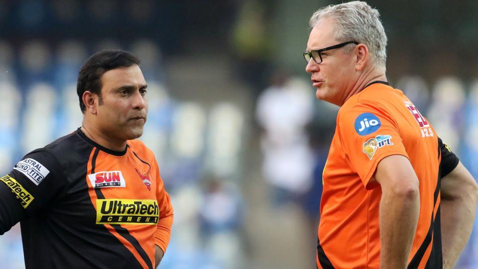 Sunrisers Hyderabad mentor VVS Laxman andcoach Tom Moody discuss strategy before the start of the match. (BCCI)