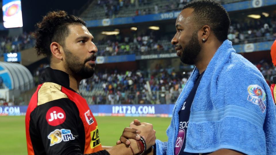 Yuvraj Singh and Kieron Pollard in discussion after Mumbai Indians' victory over Sunrisers Hyderabad, (BCCI)