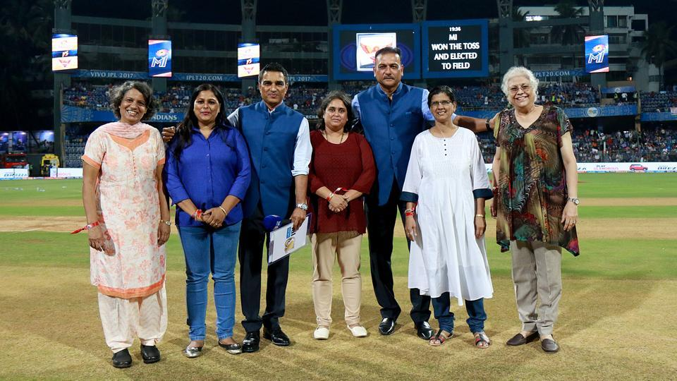 (L to R) Arundhati Ghosh, Sangita Dabir, Deepa Kulkarni Vrinda, Bhagat Sunita Singh and Behroze Edulji were also present at the Wankhede stadium. (BCCI)
