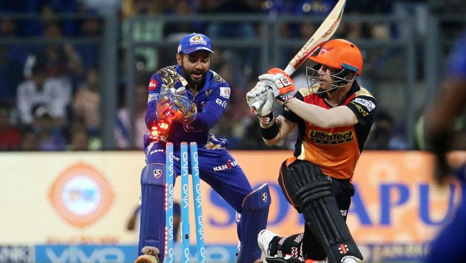 David Warner shared an 81-run opening stand with Shikhar Dhawan but his departure for 49, in attempting a switch-hit off Harbhajan Singh, resulted in Sunrisers Hyderabad losing momentum.