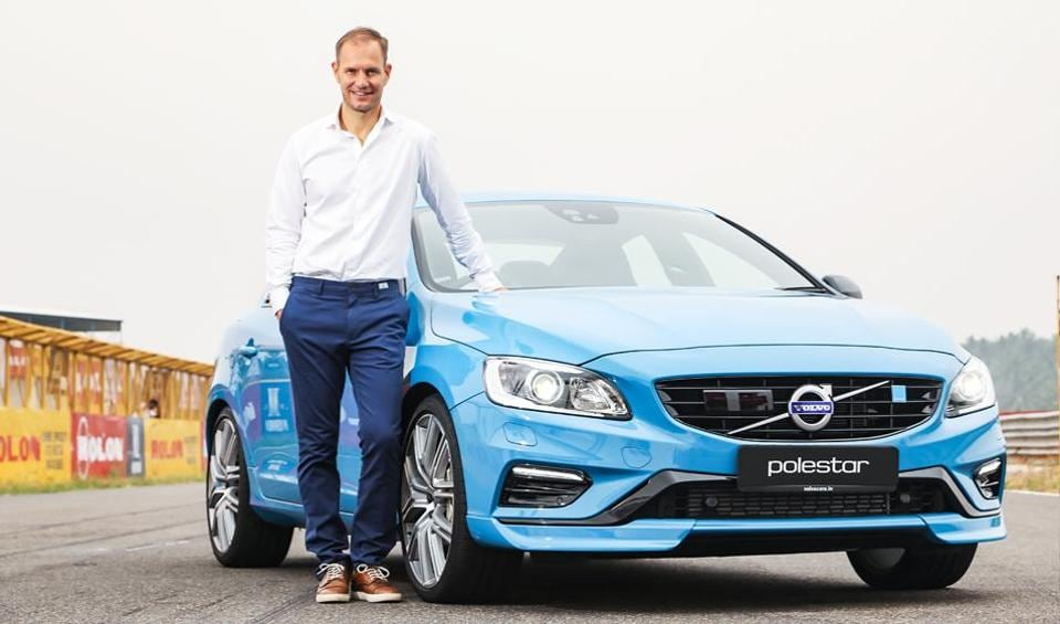 Tom von Bonsdorff, the managing director of Volvo Auto India, with the newly launched Volvo S60 Polestar.