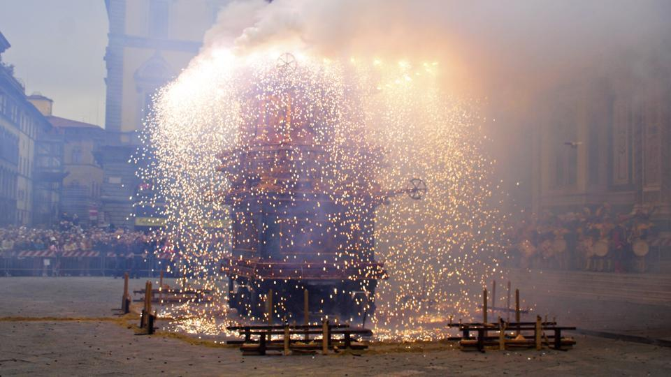 The people of Florence, Italy, celebrate a 350-year-old custom called scoppio del carro, meaning 'explosion of the cart'.