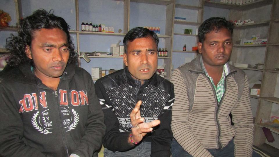 Jai Chand, Ravi Shankar and Sanjay at their Mohammadpur village in Ghatampur, 50 km from Kanpur.