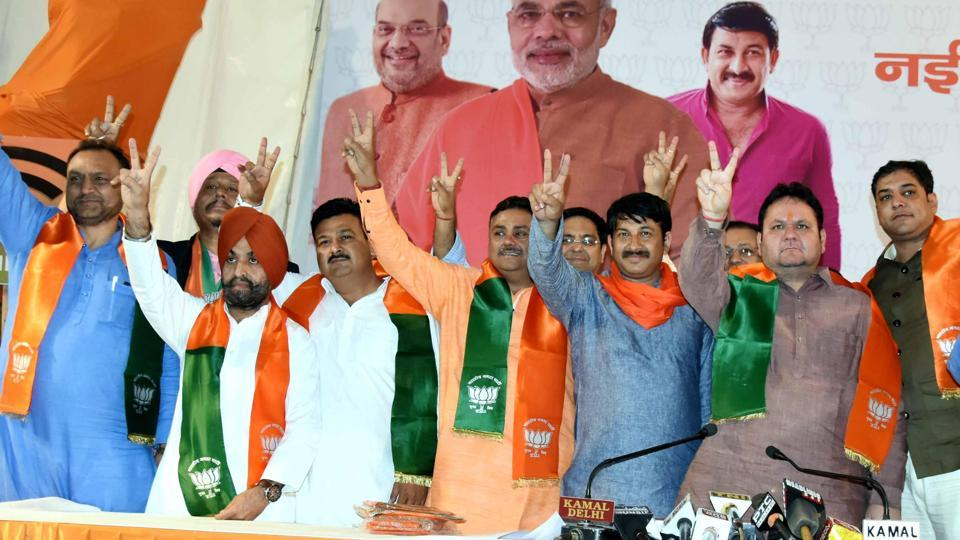 Congress' sitting councillor from Kashmere Gate ward Harsh Sharma, party's west Delhi leader Shiv Kumar Sondhi, and other district-level officer bearers joined Bharatiya Janata Party (BJP) on Friday.