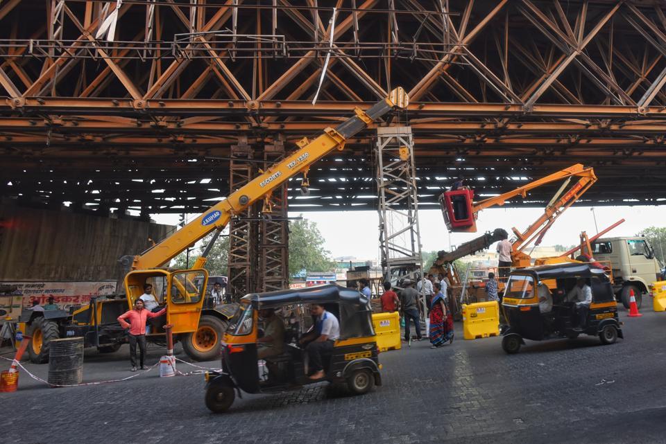 Maintenance work of Amar Mahal flyover on Wednesday.