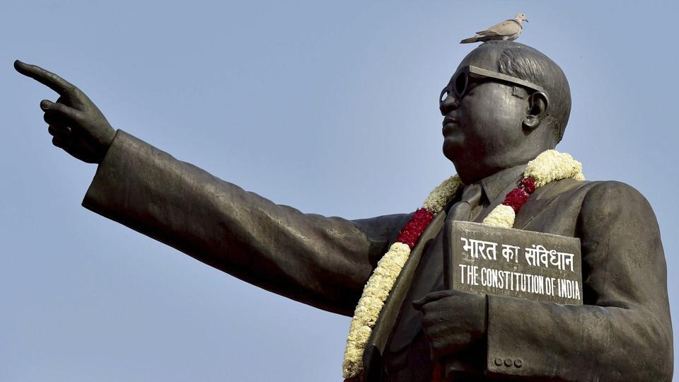 The statue of BR Ambedkar on his 126th birth anniversary at the Parliament House in New Delhi.
