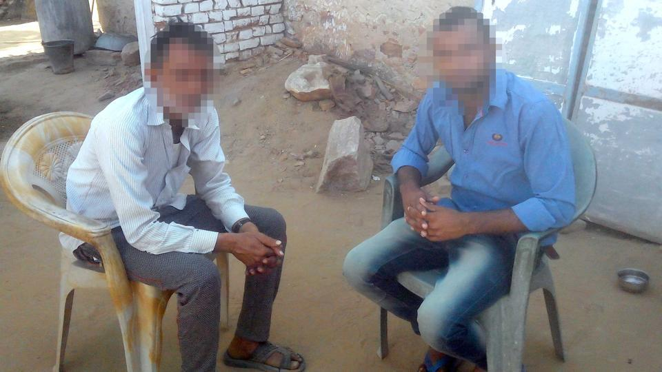 The father and brother of the girls who committed suicide on the day they were allegedly assaulted at their village in Sikar district, Rajasthan.