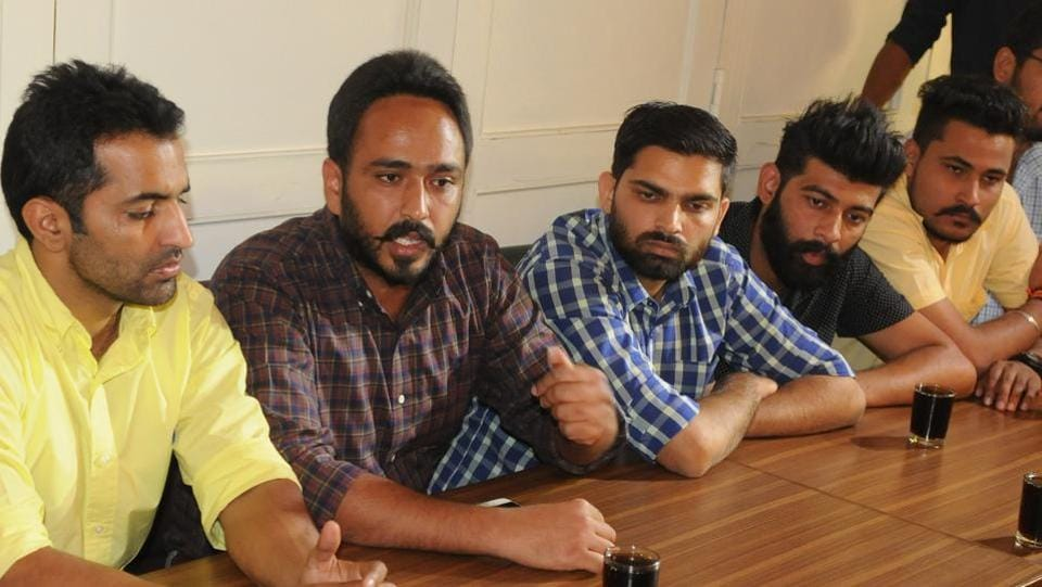 Joint action committee of students bodies during press conference at Panjab University in Chandigarh on Thursday.