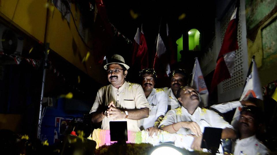 AIADMK (Amma) party leader TTV Dinakaran during campaigning ahead of the bypolls in RK NagarcConstituency in Chennai.