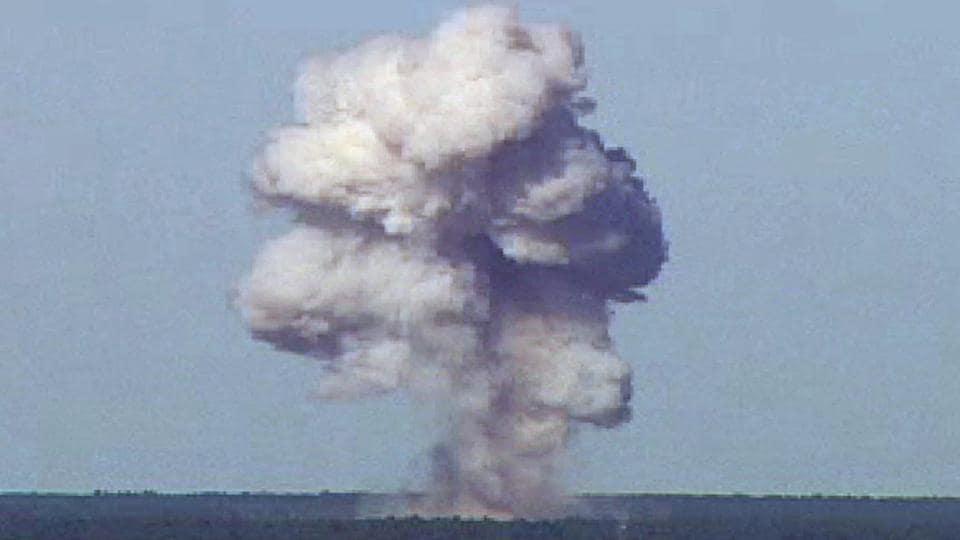 The GBU-43/B, also known as the Massive Ordnance Air Blast, detonates during a test at Elgin Air Force Base, Florida, US.