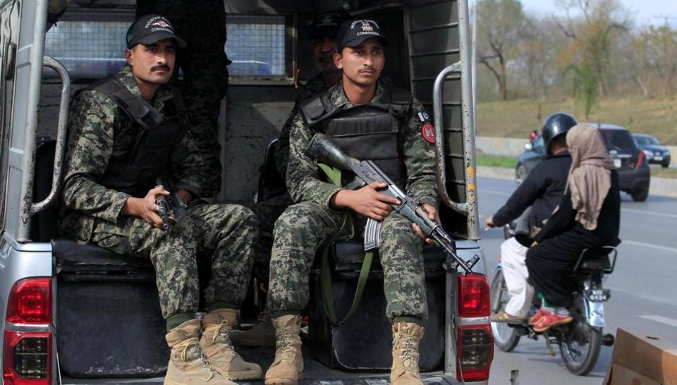 Pakistani Rangers keep guard while patrolling the streets in Islamabad. Operation Radd-ul-Fasaad was launched in February to eliminate terrorism in the country.