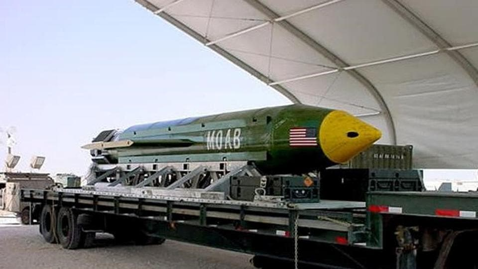 The GBU-43/B Massive Ordnance Air Blast (MOAB) bomb is pictured in this undated handout photo. Elgin Air Force Base.