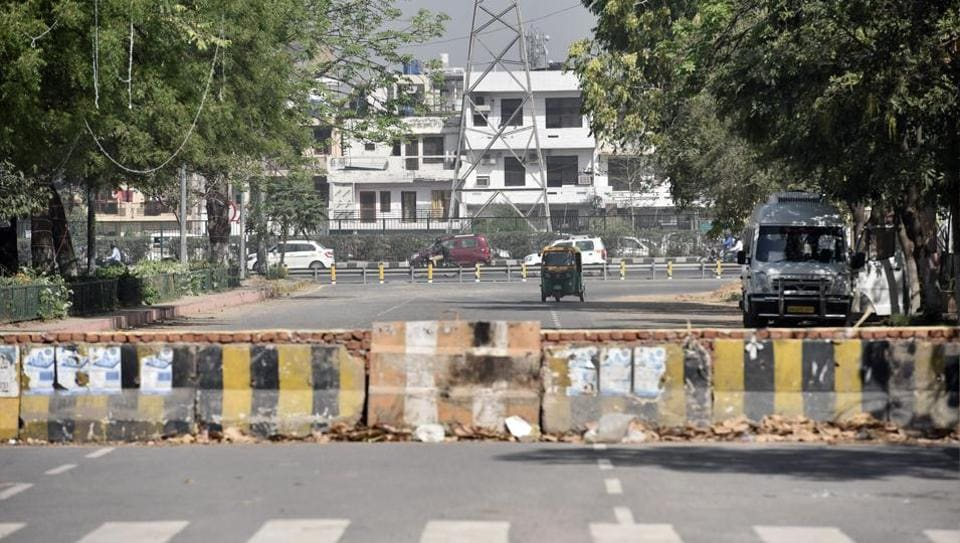The shortest route from NH8 to Sector 29 market was closed overnight before measurements were taken on Thursday.