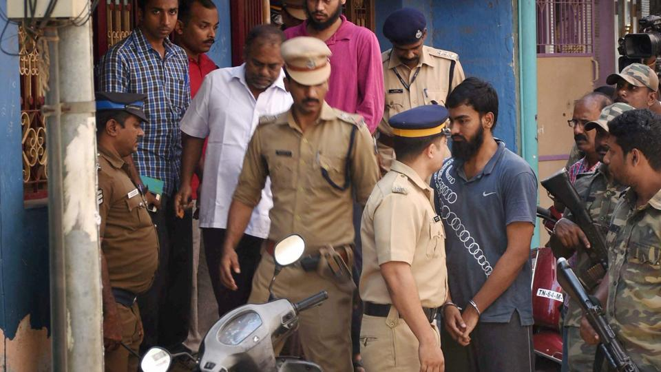 NIA and Kerala Police teams conducting a joint search at terror suspect Dawood Suleiman's house near Kaimsa Pallivasal in Madurai on Monday.