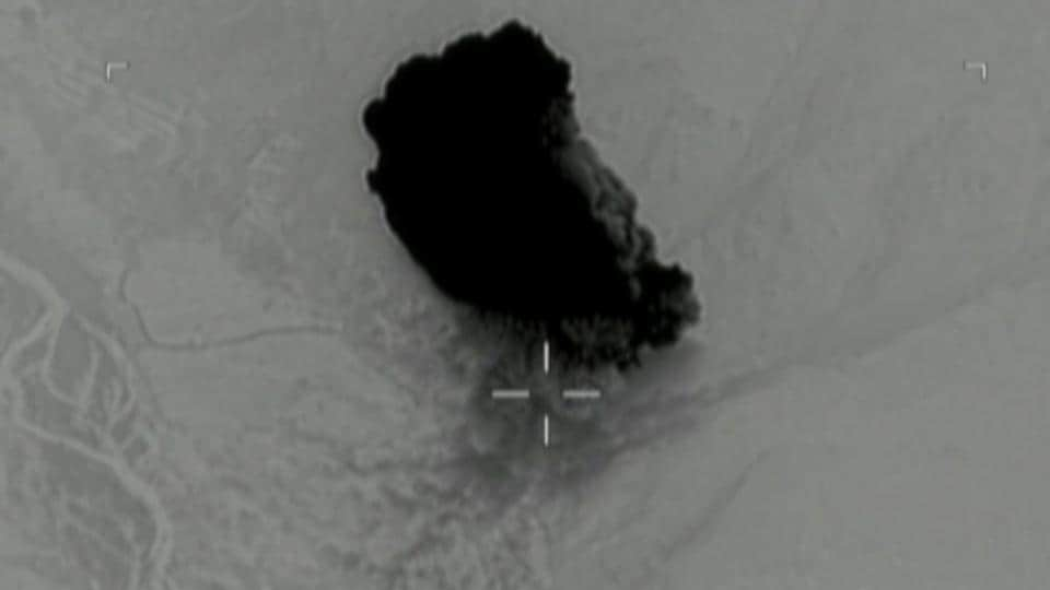 Still image taken from a video released by the US Department of Defense on April 14, 2017 shows the moment after a MOAB struck the Achin district of the eastern province of Nangarhar, Afghanistan, bordering Pakistan.