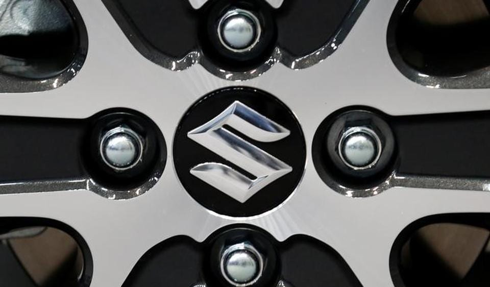 Suzuki Motor's logo on a wheel of its Wagon R Stingray is pictured at its launch event in Tokyo.