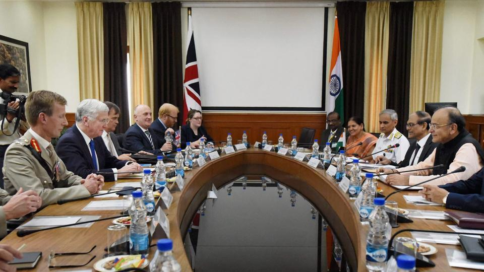 Defence Minister Arun Jaitley with UK Defence Secretary Michael Fallon during a meeting at South Block in New Delhi on Thursday.