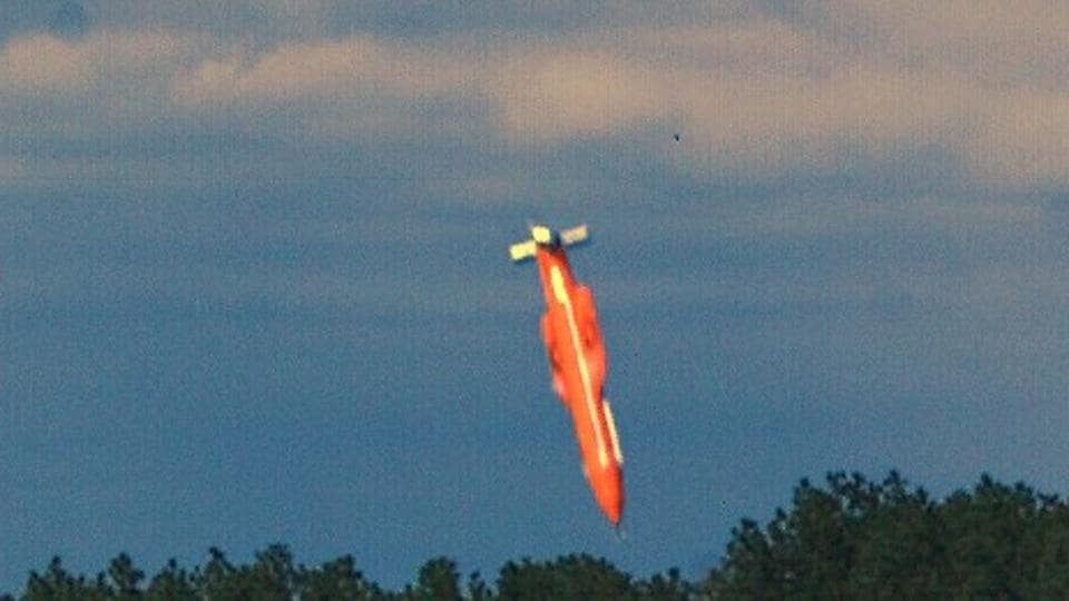 File image dated March 11, 2003 courtesy teh US Air Force shows the GBU-43/B Massive Ordnance Air Blast bomb prototype moments before impact in an undisclosed location. The detonation created a mushroom cloud that could be seen from up to 20 miles away.
