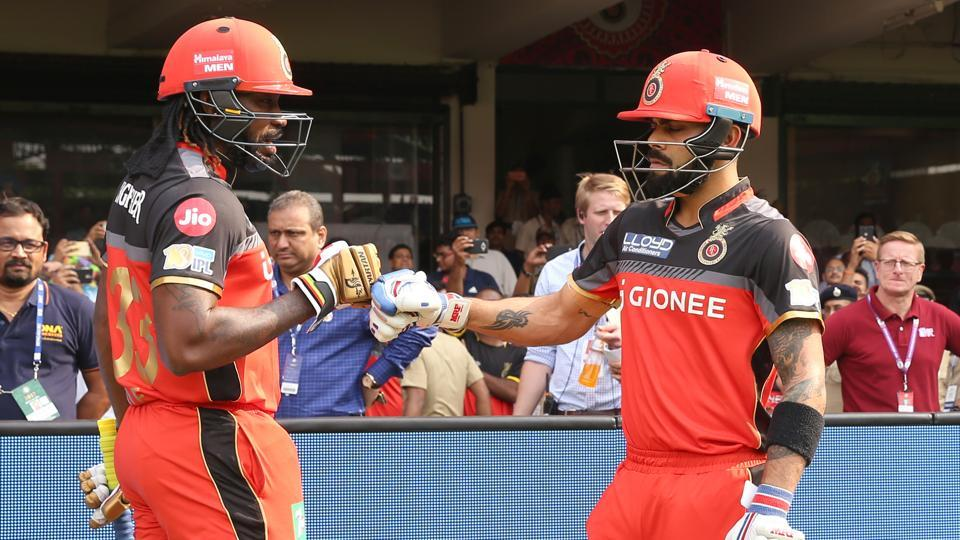 A lot of hope was pinned on Royal Challengers Bangalore opening batsmen Chris Gayle (left) and captain Virat Kohli after they were sent to bat by Mumbai Indians.  (BCCI)