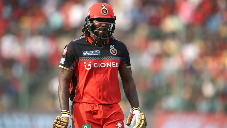 A dejected Chris Gayle leaves after he was dismissed for 22. gayle is still three runs short of the record 10,000 run mark in Twenty20s.  (BCCI)