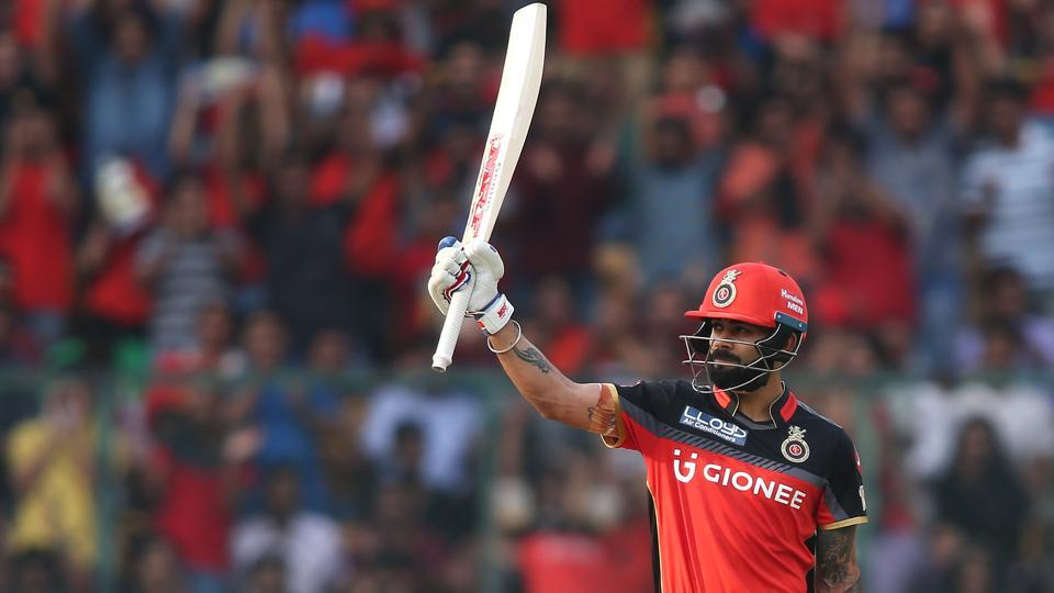 Virat Kohli raises his bat after reaching his fifty, off just 39 balls. He scored 62 off 47 balls.  (BCCI)