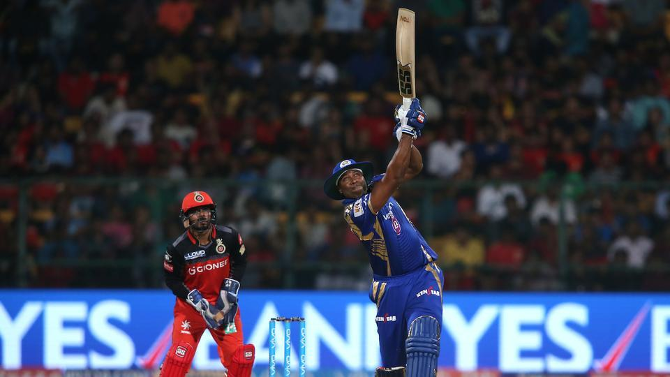 Kieron Pollard's 70-run knock off just 47 balls overshadowed Samuel Badree's hattrick as Mumbai Indians beat Royal Challengers Bangalore by four wickets in match 12 of 2017 Indian Premier League at the M Chinnaswamy Stadium. Get full cricket score of Royal Challengers Bangalore vs Mumbai Indians here