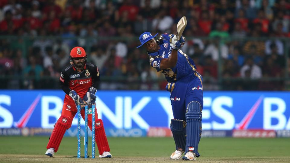 Kieron Pollard of the Mumbai Indians hits over the top for a six during the IPL 2017 match against Royal Challengers Bangalore  in Bangalore on Friday.  (BCCI)