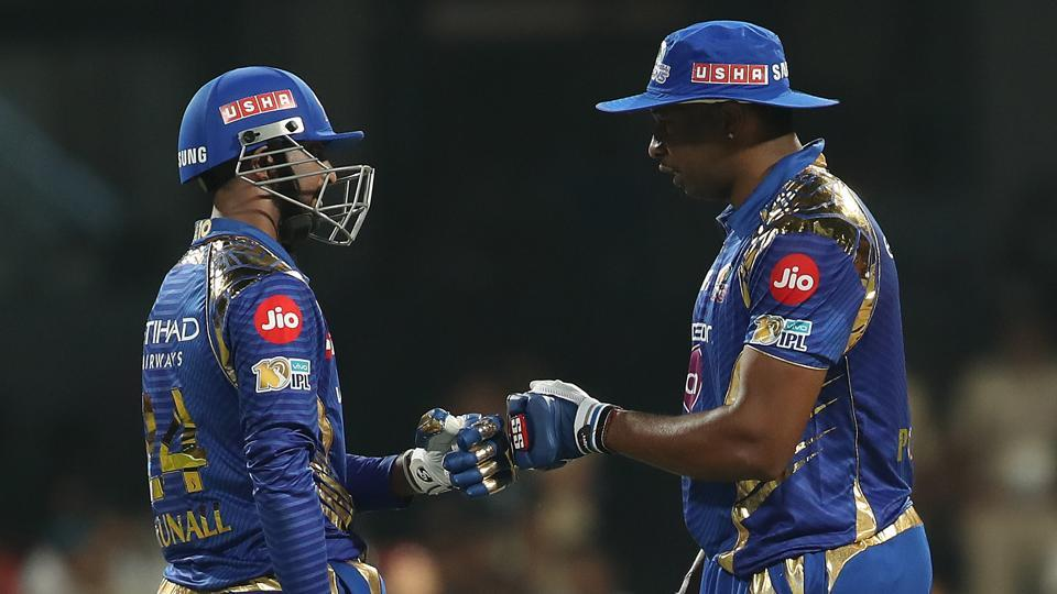 Kieron Pollard (right) and Krunal Pandya featured in a 93-run partnership for the sixth wicket. (BCCI)