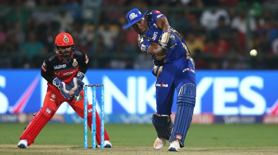 Kieron Pollard of Mumbai Indians scored a crucial fifty during their 2017 Indian Premier League match against Royal Challengers Bangalore at the M.Chinnaswamy Stadium in Bangalore. Get full cricket score of Royal Challengers Bangalore vs Mumbai Indians here.