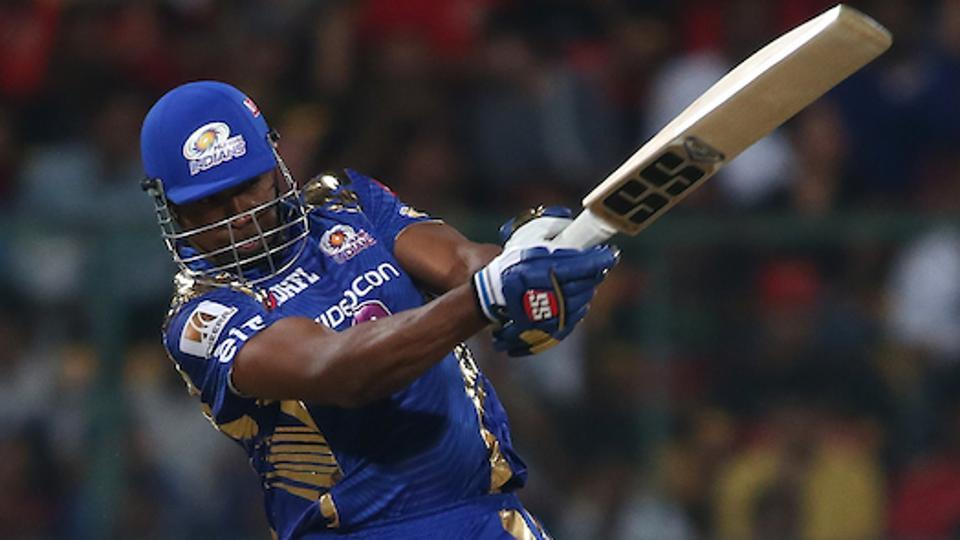 Kieron Pollard smashed a 47-ball 70 to guide Mumbai Indians to a four-wicket victory against Royal Challengers Bangalore in their 2017 Indian Premier League match in Bangalore on Friday despite Samuel Badree's hattrick that had almost derailed the visitors' chase.