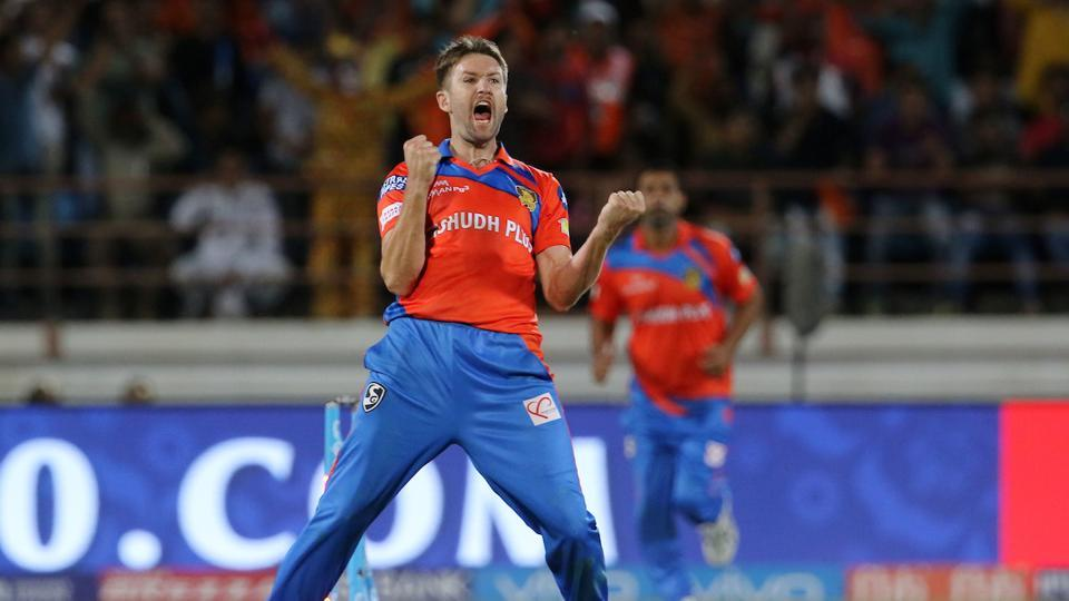Andrew Tye of Gujarat Lions celebrates after taking a hat-trick during their 2017 Indian Premier League (IPL) match against Rising Pune Supergiant at the Saurashtra Cricket Association Stadium in Rajkot. Catch highlights of Gujarat Lions vs Rising Pune Supergiant here.