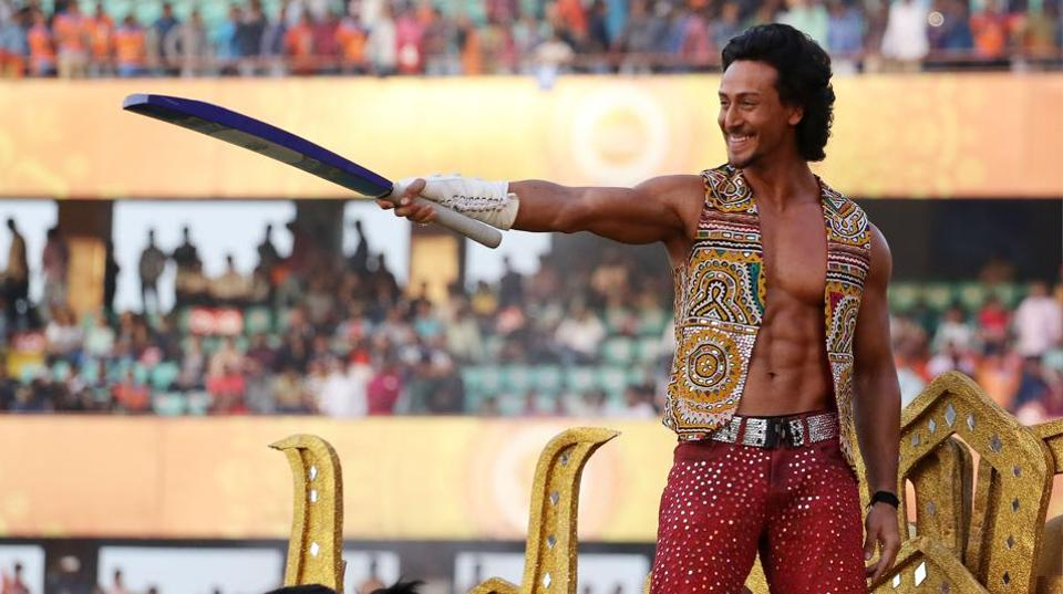 Bollywood actor Tiger Shroff performs before an IPLmatch.