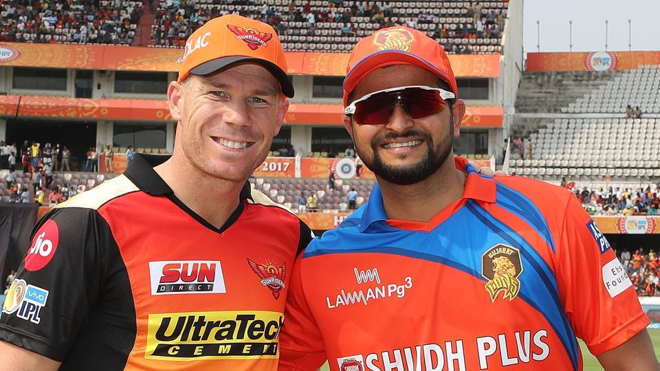 Sunrisers Hyderabad captain David Warner and Gujarat Lions captain Suresh Raina at the toss before their match on April 9. Despite the acrimonious India-Australia series just before the 2017 Indian Premeir League, Sunrisers Hyderabad captain David Warner said all is well between their players.