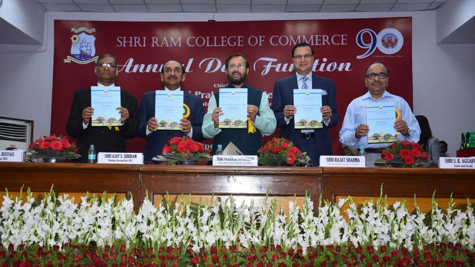 At SRCC's annual day: Dr R P Rustagi, principal, SRCC;  Ajay Shriram, chairman, governing body; Prakash Javadekar, HRDminister;  Rajat Sharma,  chairman and editor-in-chief India TV and SK Aggarwal, senior faculty, SRCC.