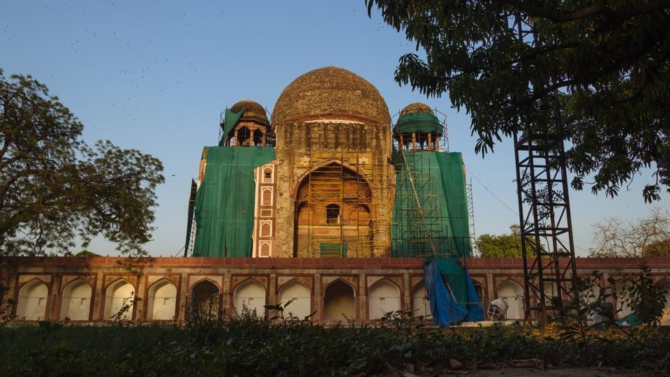 Tomb of Khane-i-Khana is located in Nizamuddin East and was built in the honour of Abdul Rahim Khane-i-Khana who was one of the Navratnas of Akbar's court. It is currently under extensive restoration to restore its former glory under a public-private partnership. (Vageesh Lall/HT Photo)