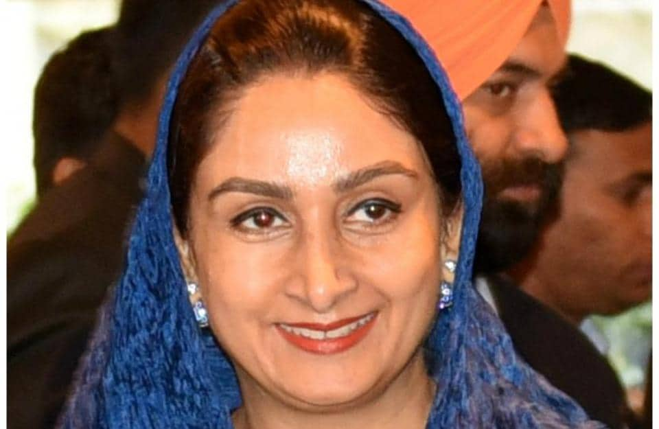 Union food processing industry minister Harsimrat Kaur Badal.
