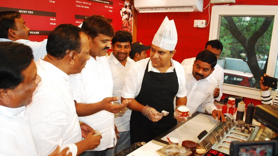 Telangana information minister KT Rama Rao serves ice cream at the Gulabi Coolie Vaarotsvalu on Friday evening.