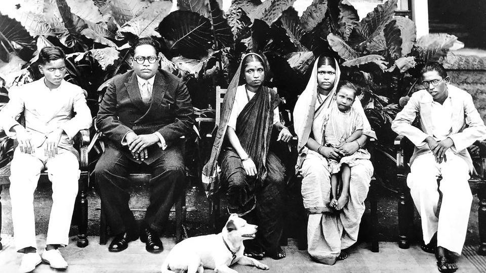 Rajagriha, Bombay, February 1934: (L to R) Yashwant, BR Ambedkar, Ramabai, Laxmibai (widow of Ambedkar's brother, Anandrao), Mukundrao, and (in the foreground) Tobby. The little girl on Laxmibai's knee is unidentified.
