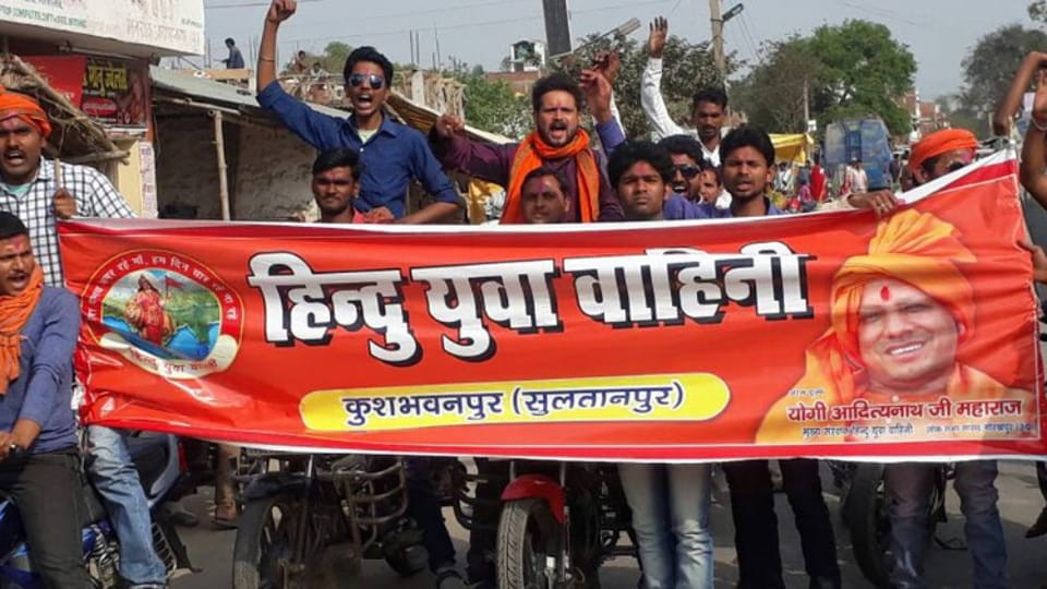 """Hoardings declaring that people should chant """"Yogi Yogi"""" if they wanted to live in Uttar Pradesh have been put up across the city purportedly by the district unit of the Hindu Yuva Vahini."""