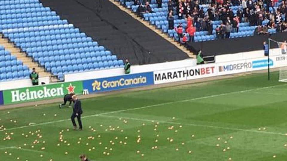 Coventry City's game against Charlton Athletic was interrupted due to toy pugs being throw by fans from both sides on to the pitch.