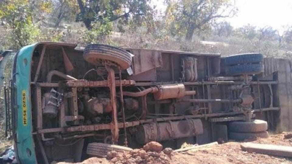 Seven policemen and a hardcore Naxal were killed when a prison van dashed into a truck in Bihar's Sitamarhi district onSaturday.