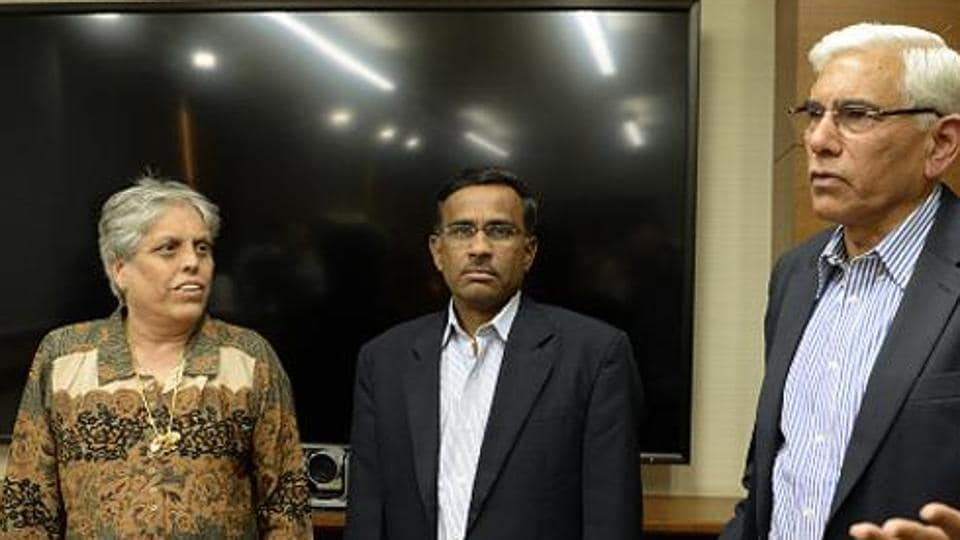 The power tussle between the court-appointed Committee of Administrators and the Indian cricket Board officials continues to mar the running of the rich sports body. CoA member Diana Edulji, seen here with its chief Vinod Rai (right) and Vikram Limaye, is also under scanner after her sister's name was among the six former women players chosen for cash incentives.