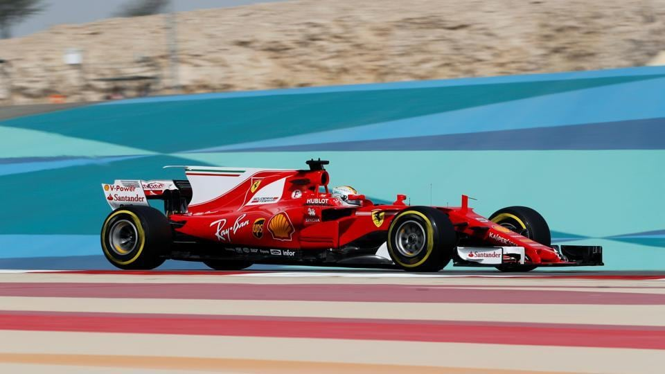 Ferrari Formula One driver Sebastian Vettel of Germany drives during the first practice session of the Bahrain F1 Grand Prix.