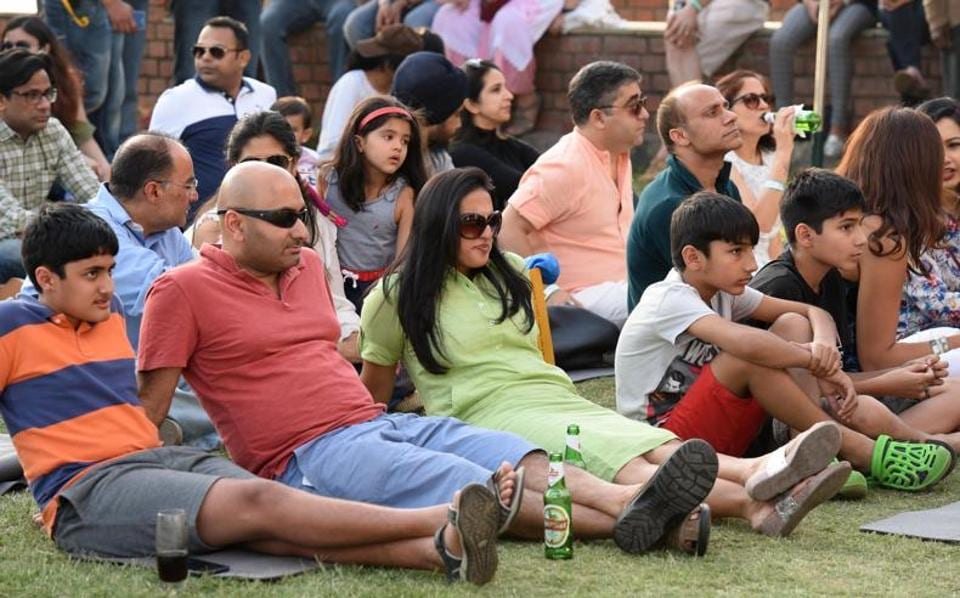 Audience at the Kasauli Rhythm and Blues music festival in Himachal Pradesh on Friday, April 14. (Sanjeev Sharma/HT)